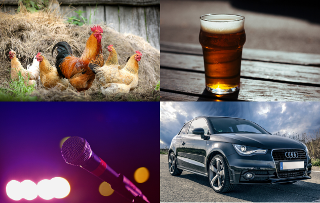 Photos of chickens, beer, a microphone and a car to indicate the range of careers STEM skills can lead to