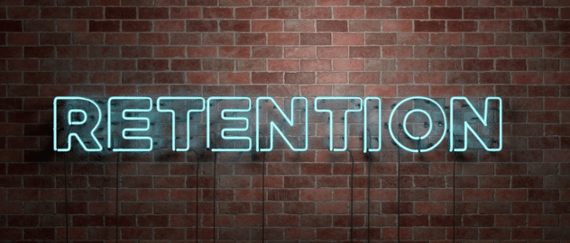 Neon sign saying retention