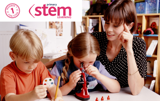A teacher and two children looking through a microscope