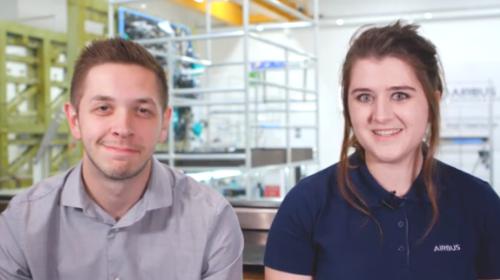 Matt and Ellie, apprentices at Airbus