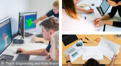 A collage showing the range of careers available in design, technology and engineering © This is Engineering and Rolls-Royce PLC