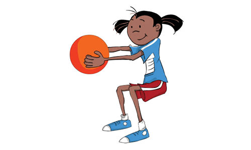 Girl squatting and holding ball