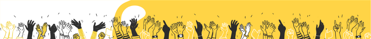 Illustrated hands in the air in STEM community colours - back, yellow and white