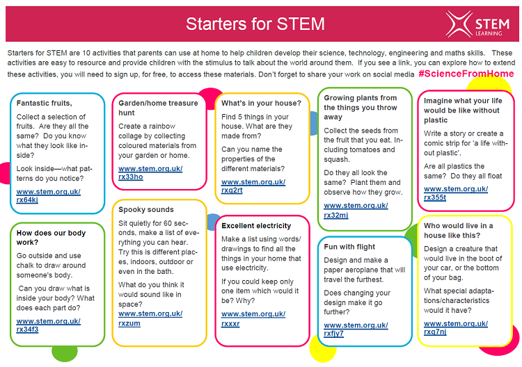Starters for STEM activity