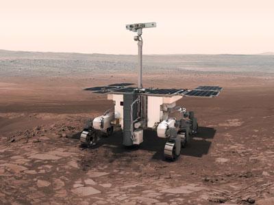 3D computer visualisation of the ESA ExoMars Rosalind Franklin Rover on Mars