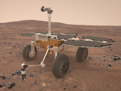 3D computer visualisation of the ESA Sample Fetch Rover on Mars