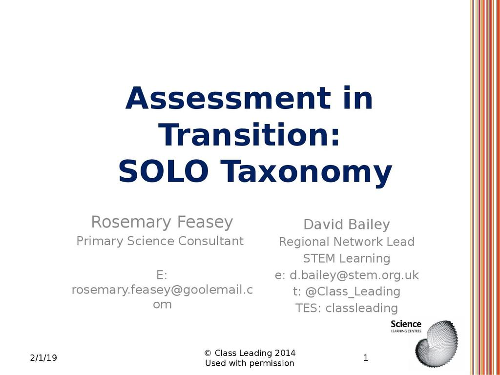 Assessment in transition: SOLO taxonomy | STEM