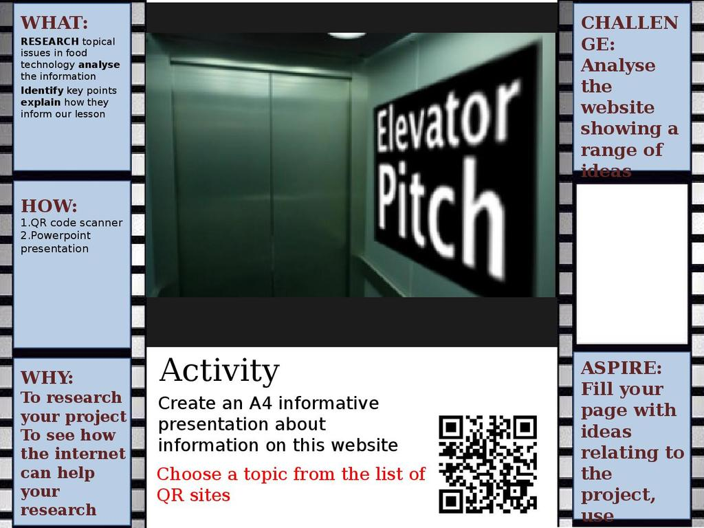 Elevator pitch lesson: QR code research activity | STEM