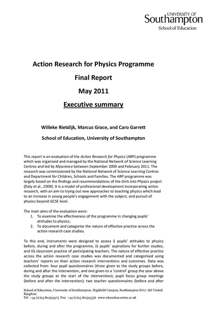 Action research for physics programme (ARPP) | STEM