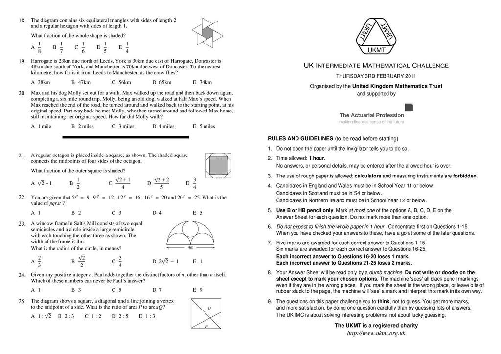 Intermediate maths challenge past papers 2010 best term paper ghostwriter website for school