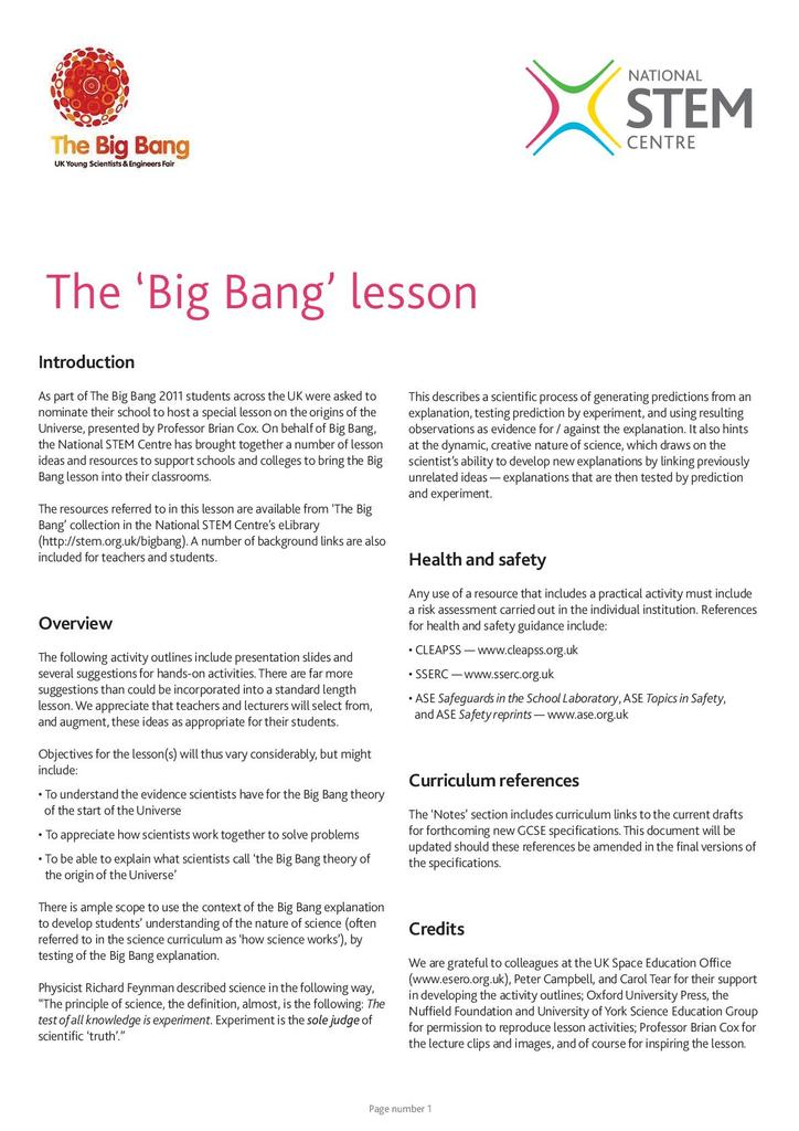 The Big Bang Lesson Suitable For Home Teaching Stem