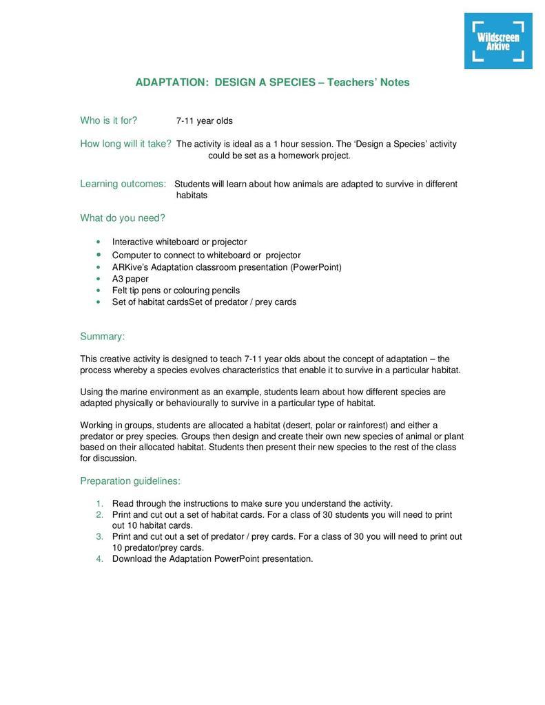ARKive's Adaptation: Design a Species Activity (Age 7-11) | STEM