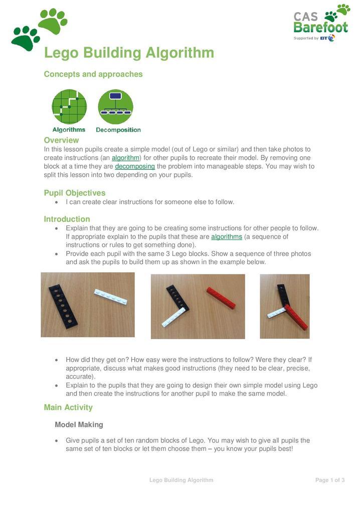 Lego building algorithm activity | STEM