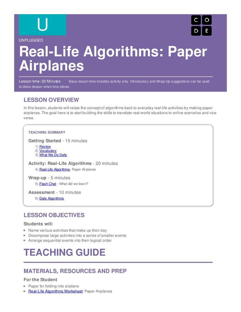 Real-life algorithms: paper airplanes | STEM