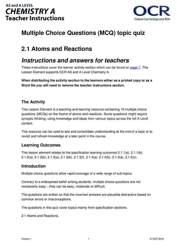 Atoms and reactions: multiple choice question (MCQ) topic quiz | STEM