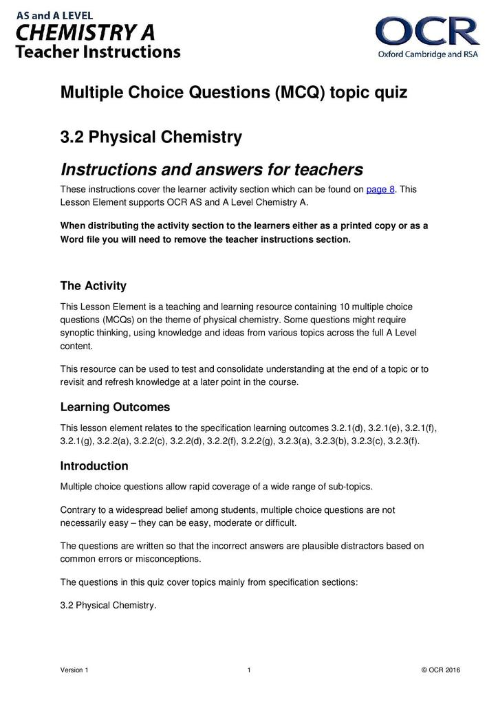 Physical chemistry: multiple choice quiz | STEM