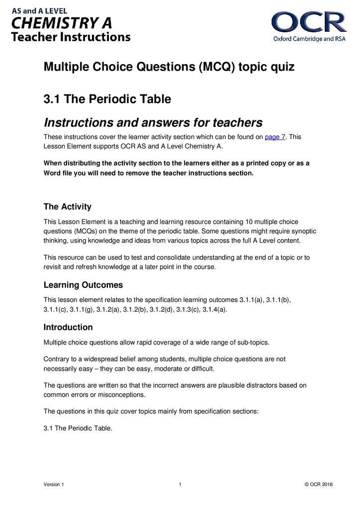 The Periodic Table Multiple Choice Quiz Stem