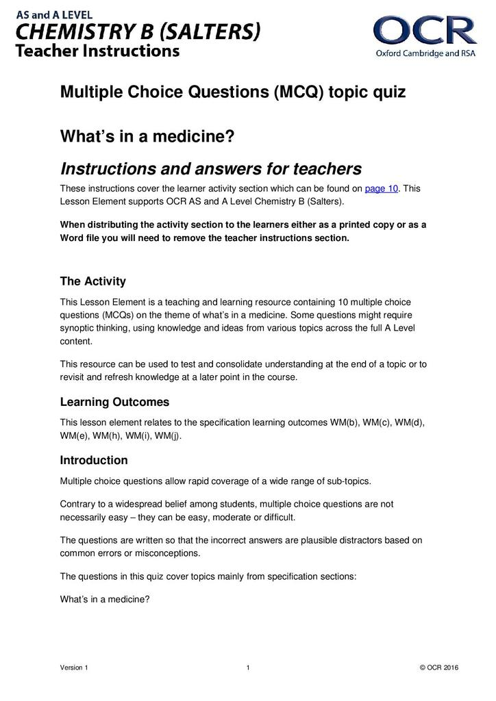 What's in a medicine? Multiple choice quiz | STEM