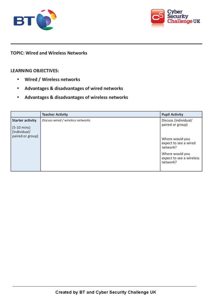 Wired and wireless networks   STEM