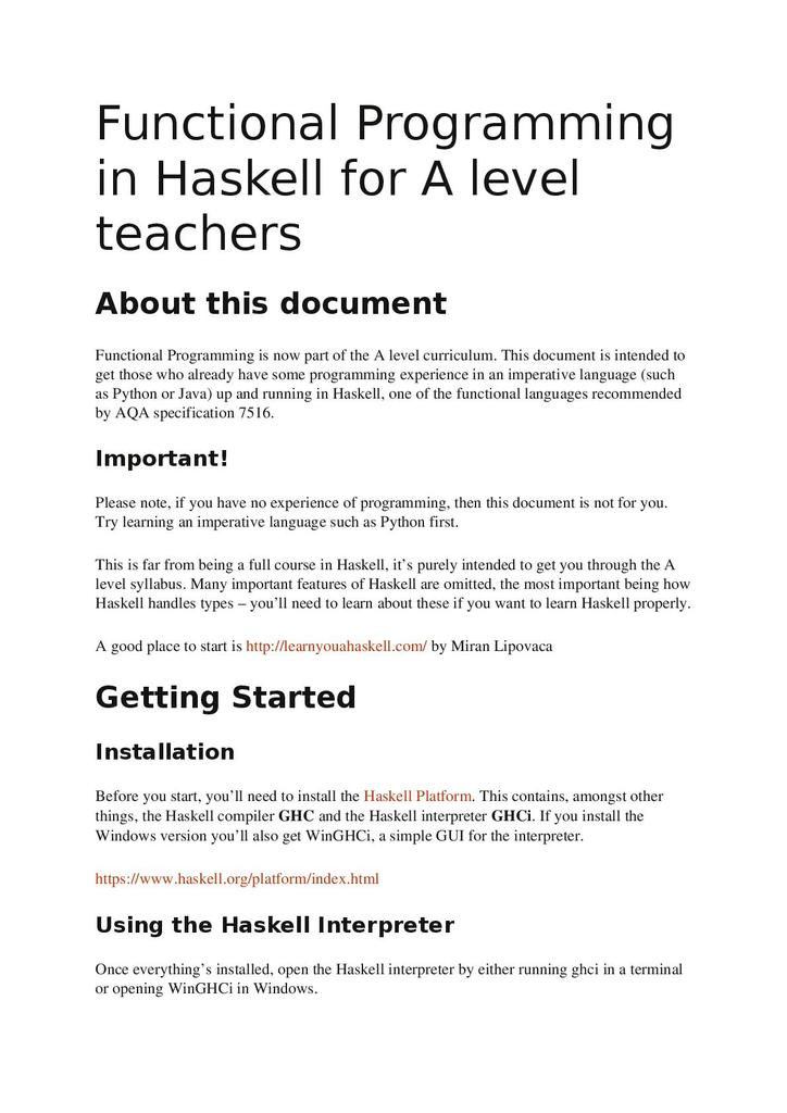 Functional programming for Haskell for A level teachers | STEM