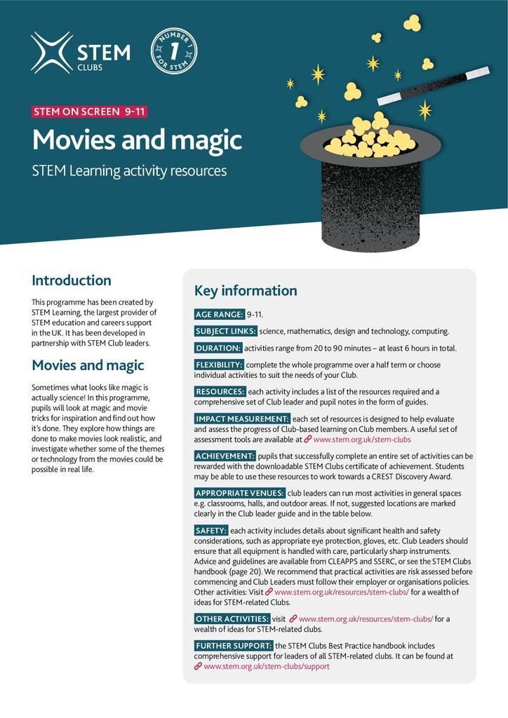 Movies and magic 9-11 | STEM