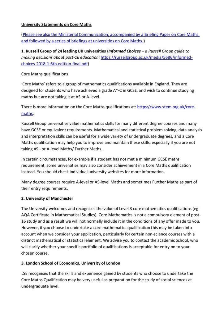 University endorsement statements   STEM