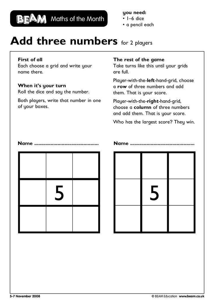 Calculation Games for Students Aged 5-7 | STEM