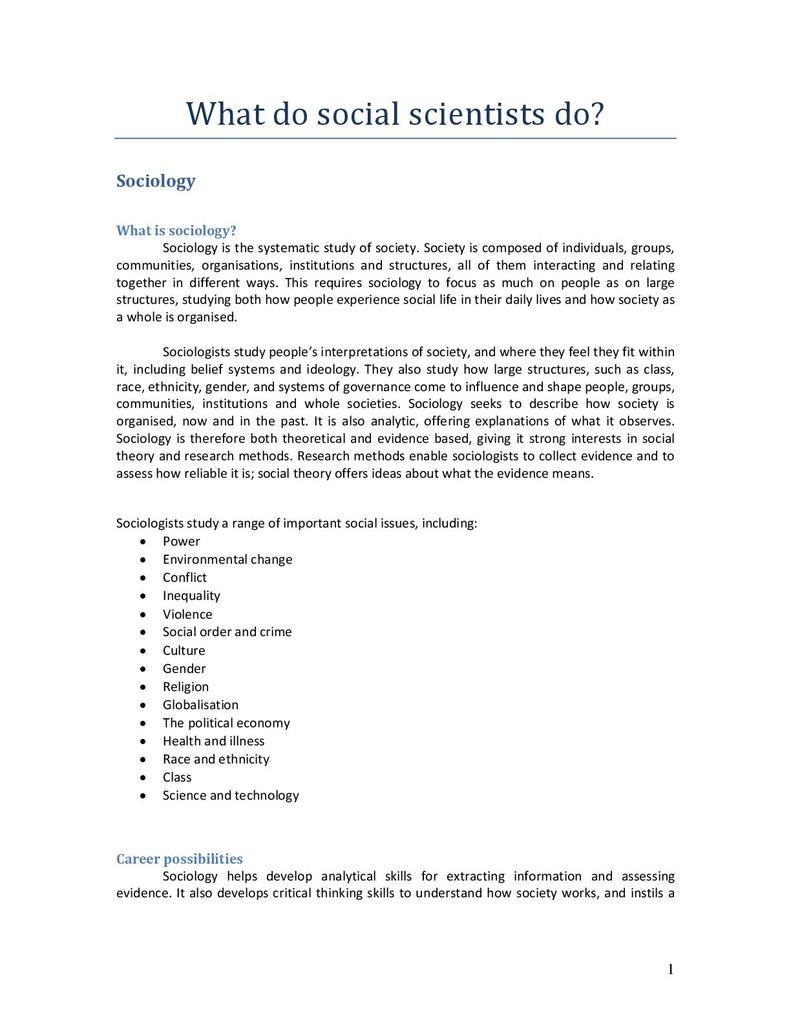 What Do Social Scientists Do? Sociology | STEM
