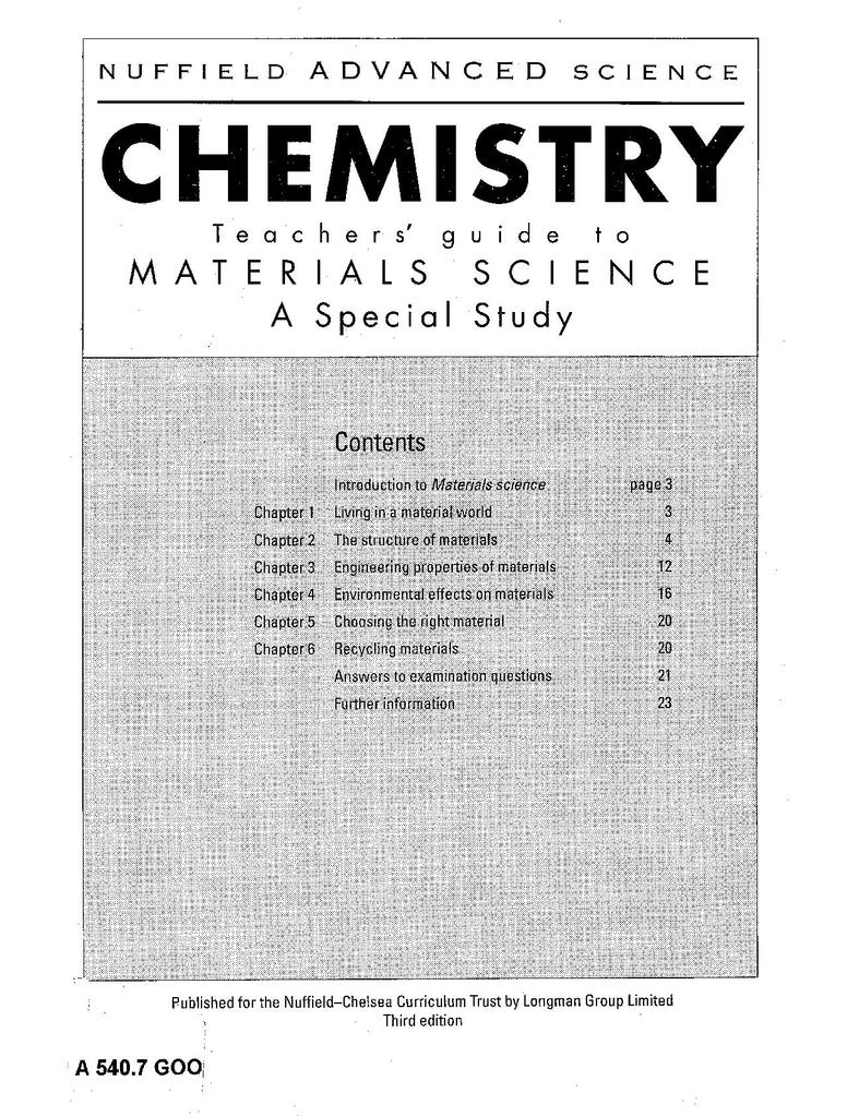 Nuffield Advanced Chemistry (Third Edition): Materials Science | STEM