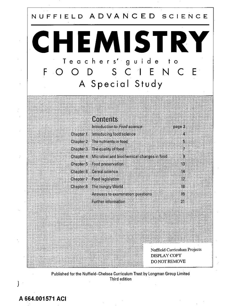 Nuffield Advanced Chemistry (Third Edition): Food Science | STEM