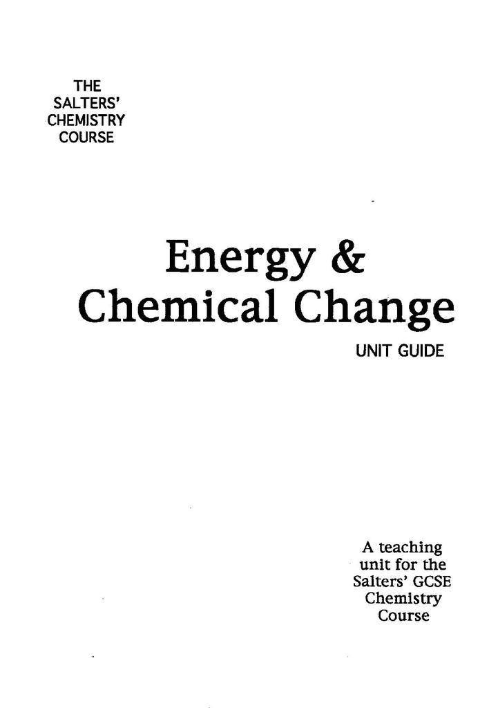 Energy and Chemical Change | STEM