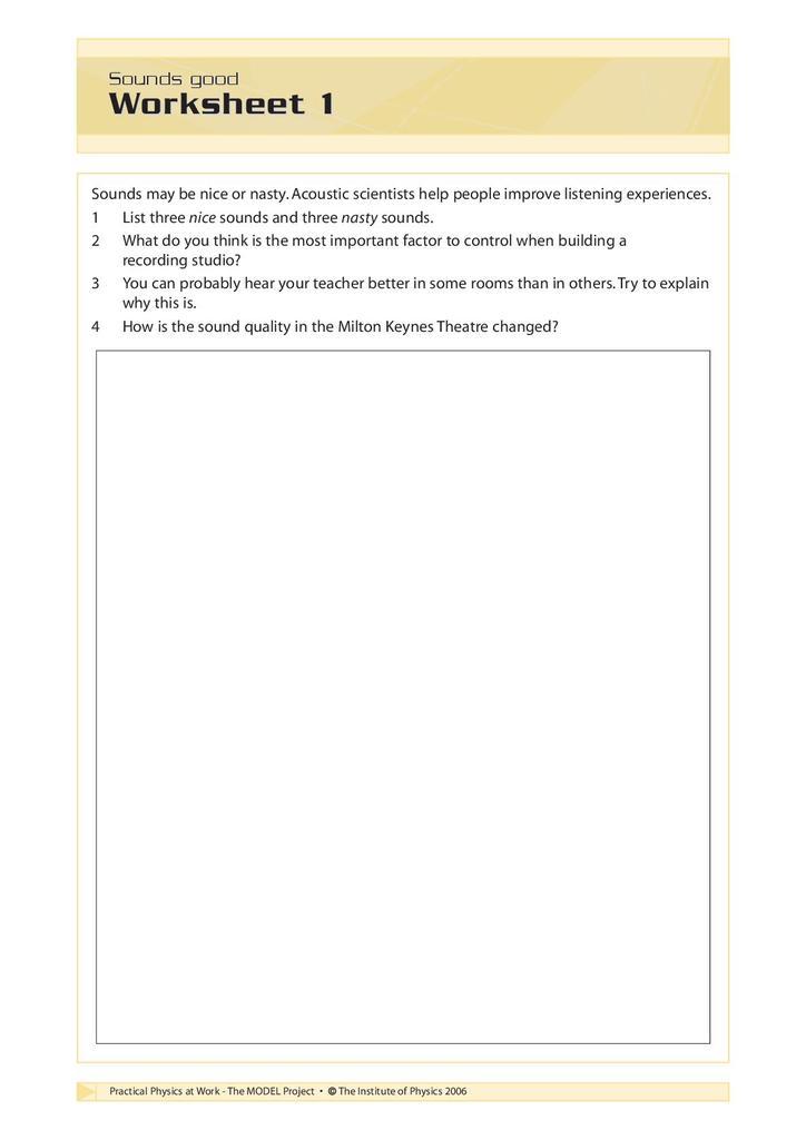 Sounds Good: Activity Sheets | STEM