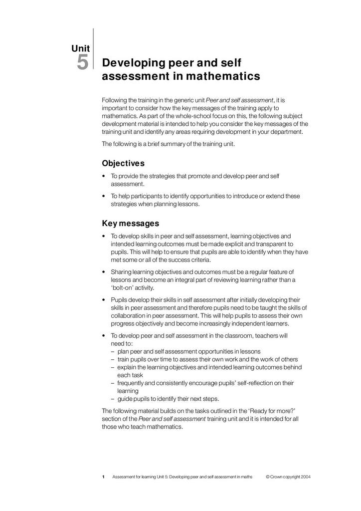 Assessment for Learning: Mathematics   STEM