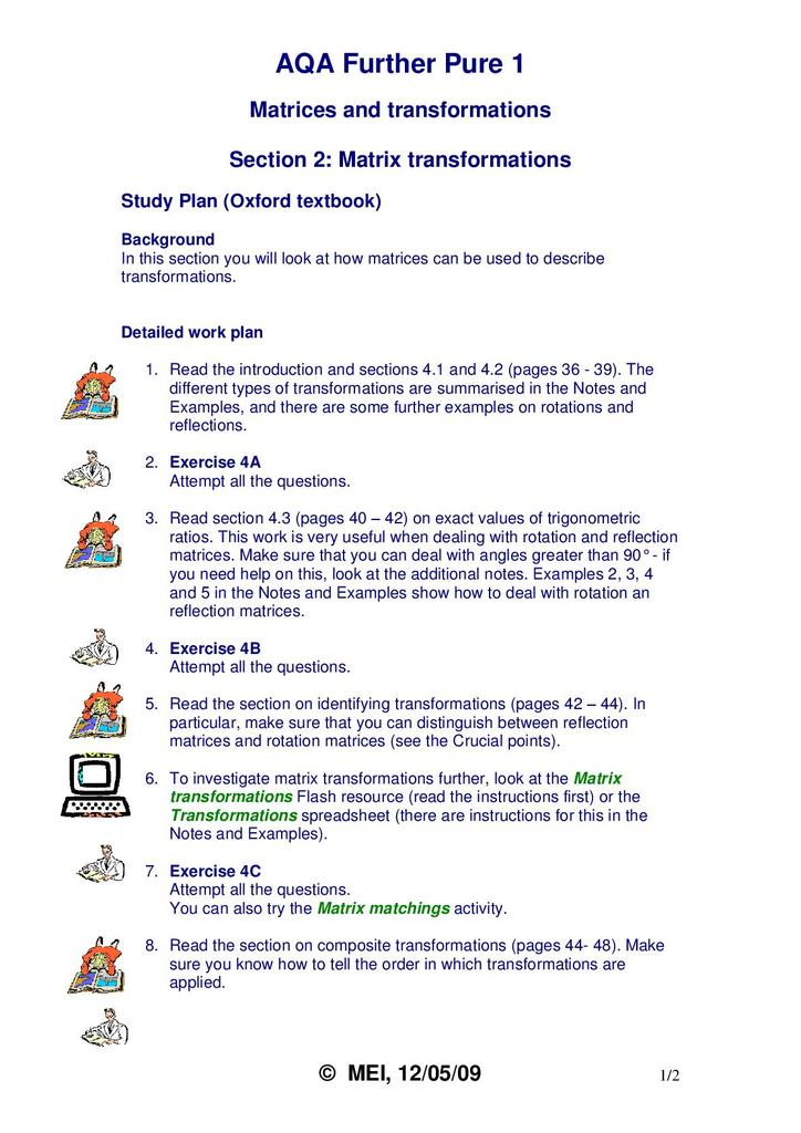 AQA FP1 Matrix Transformations Study Plan, Notes and Exercises   STEM