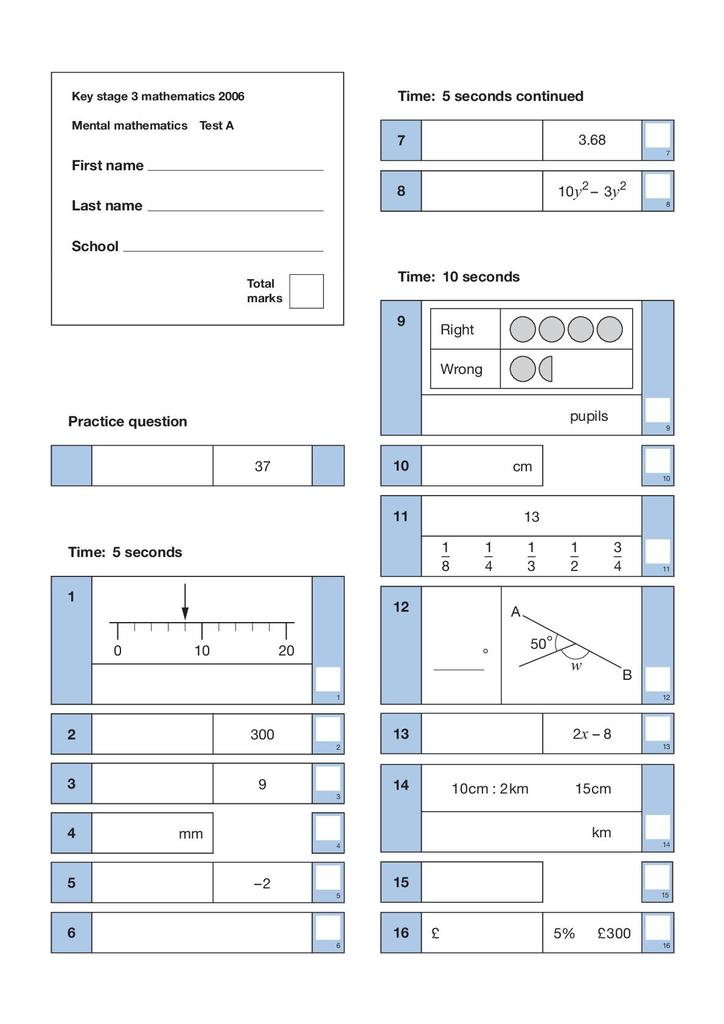 Mathematics Quality and Assessment Tests: 2006 Key Stage