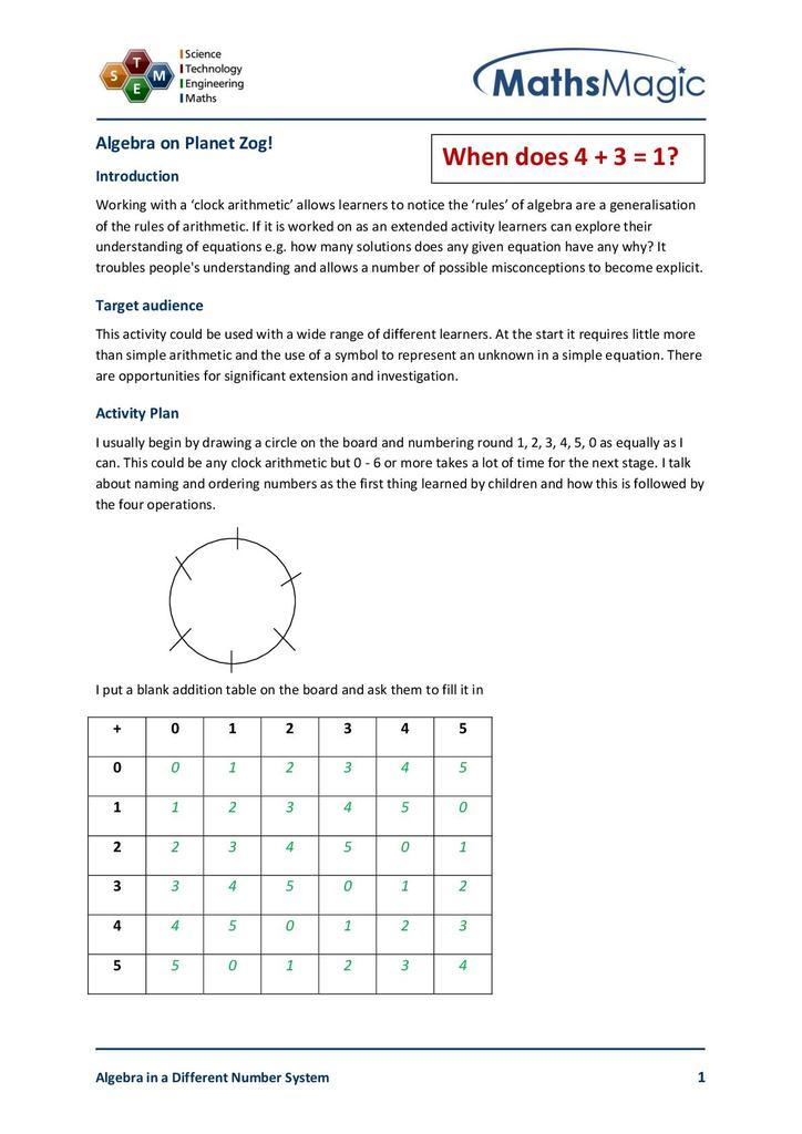 Algebra on the Planet Zog!   STEM