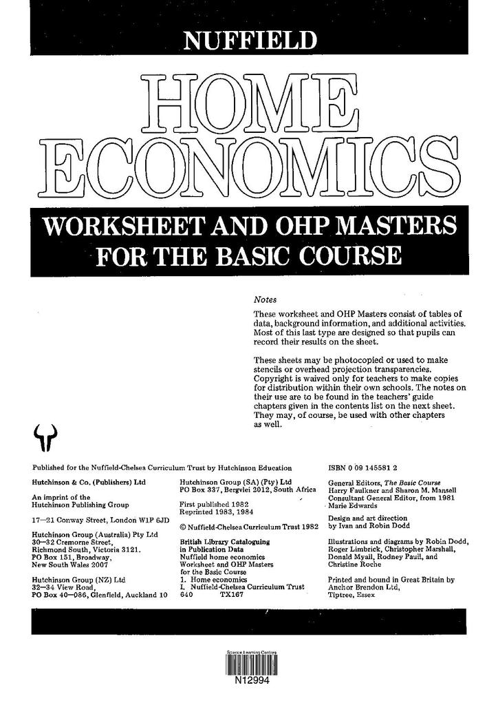 Nuffield Home Economics Worksheets And Ohp Masters For The