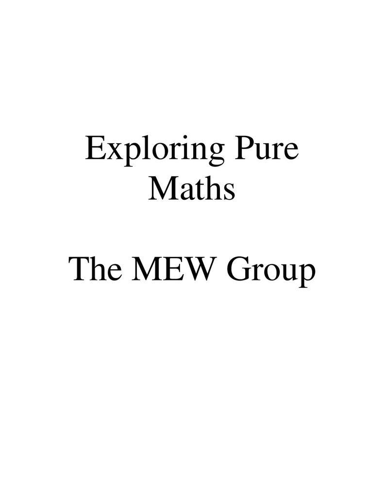 Exploring Pure Mathematics | STEM