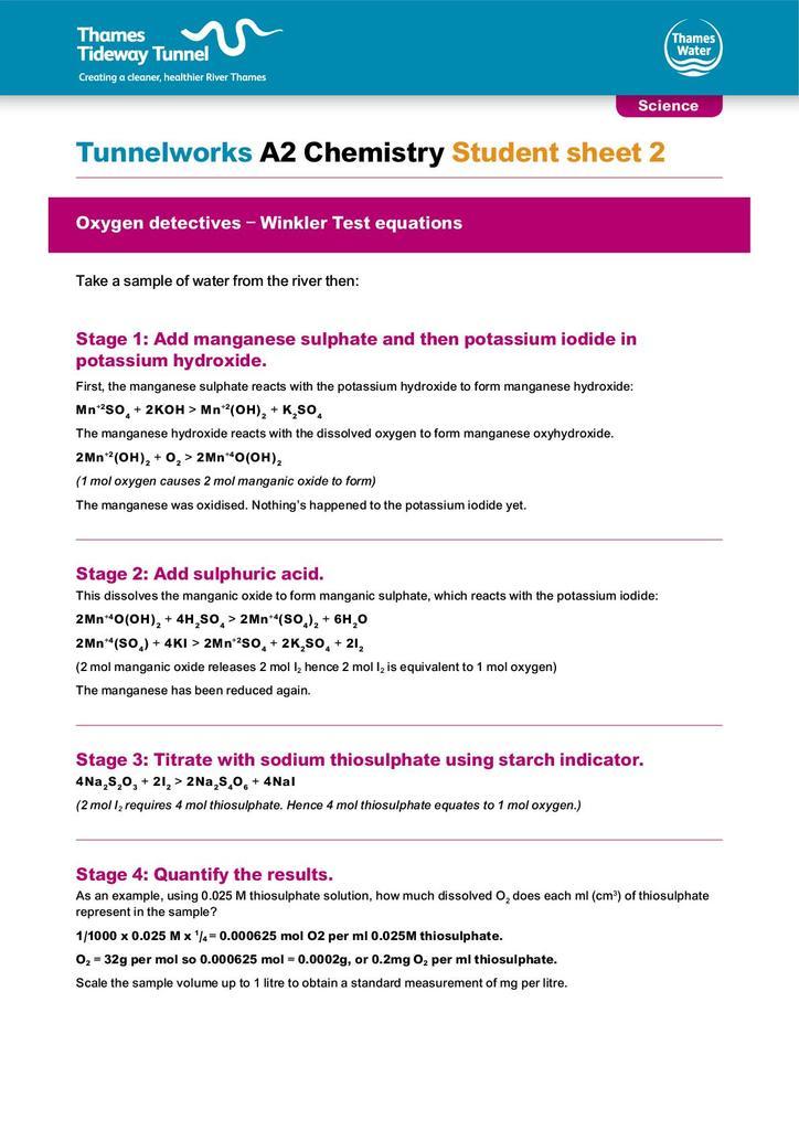 Tunnelworks Key Stage Five Chemistry Stem