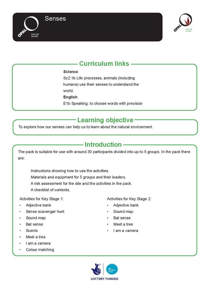 Education Pack: Senses | STEM