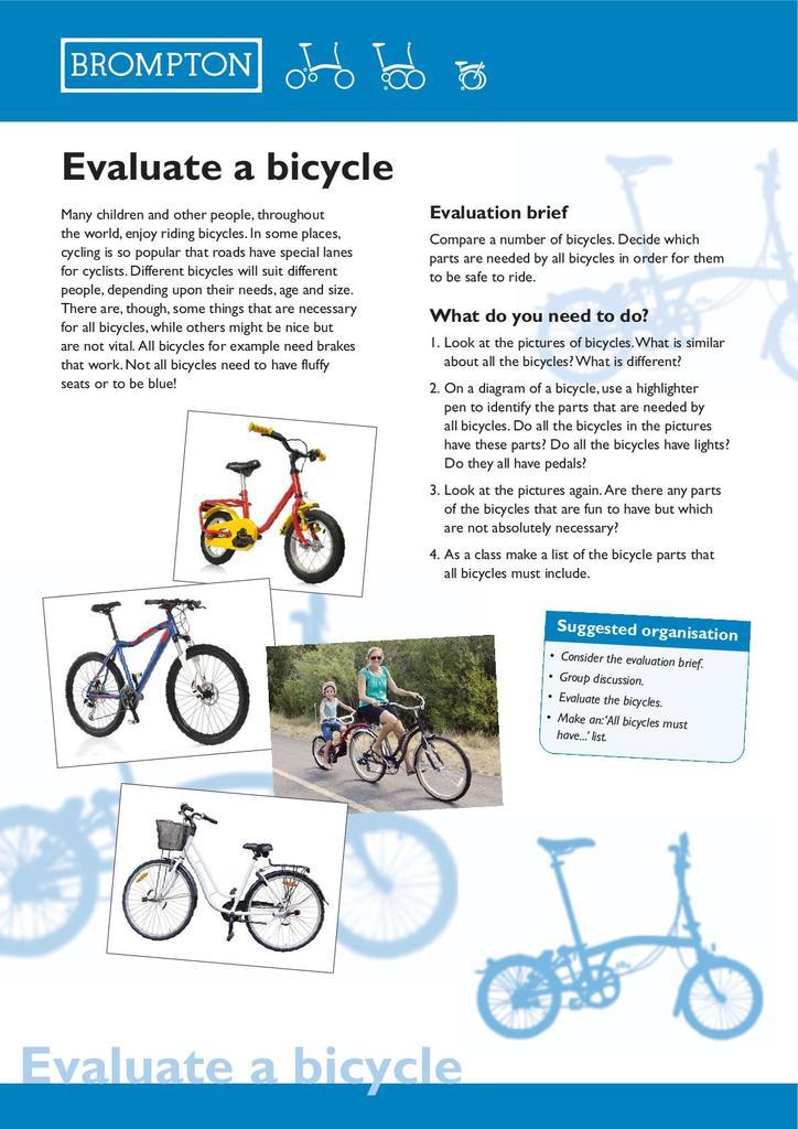Brompton Bicycle Key Stage 1 Resources Stem