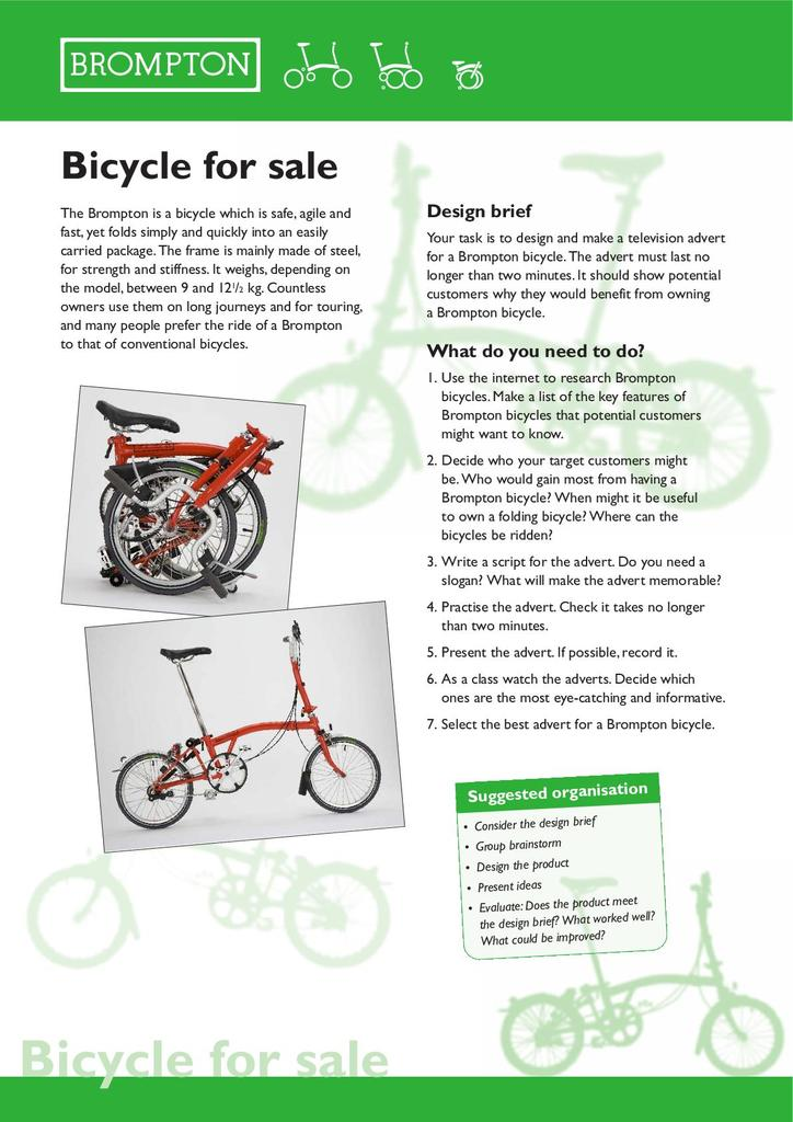 Brompton Bicycle Key Stage 2 Resources Stem
