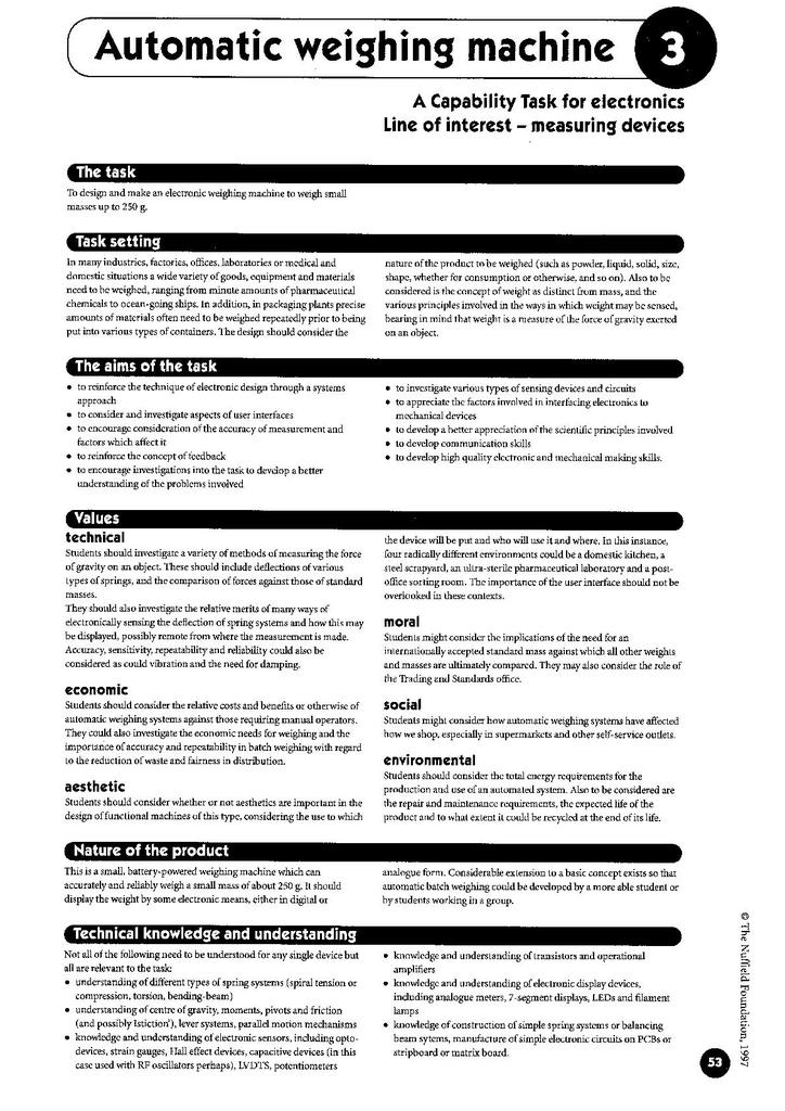 Key Stage Four Electronic Products Capability Tasks | STEM