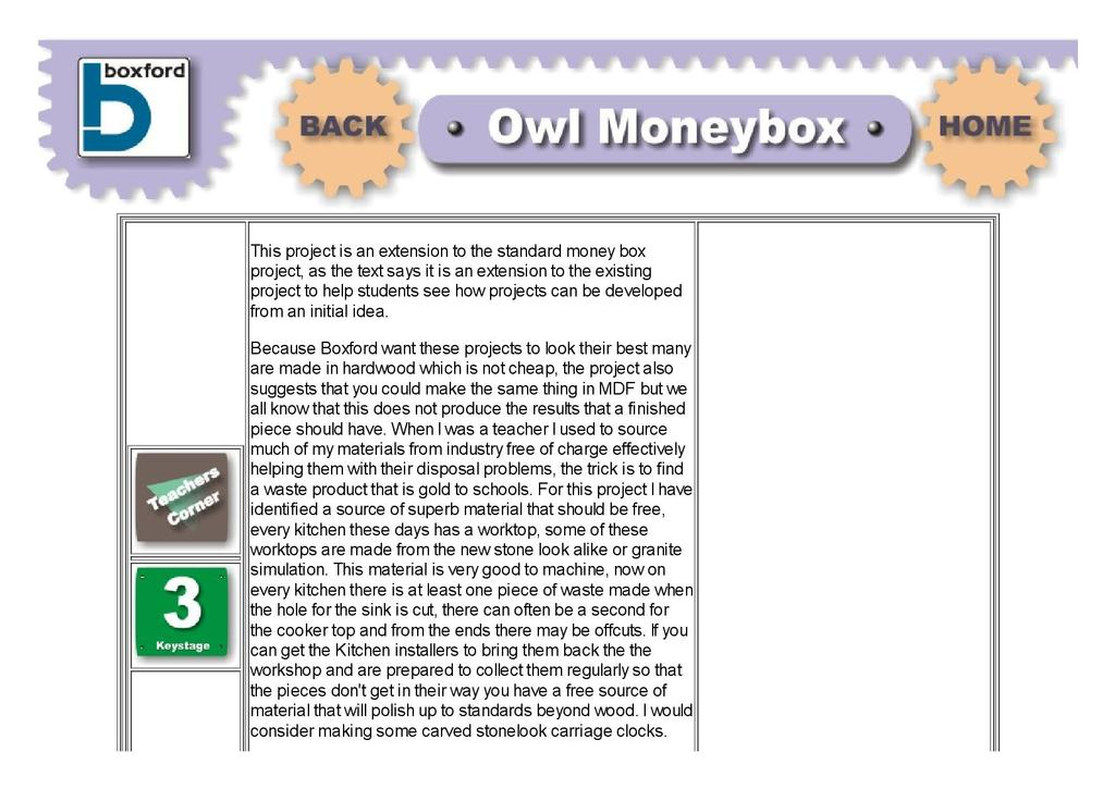 Owl Money Box Stem