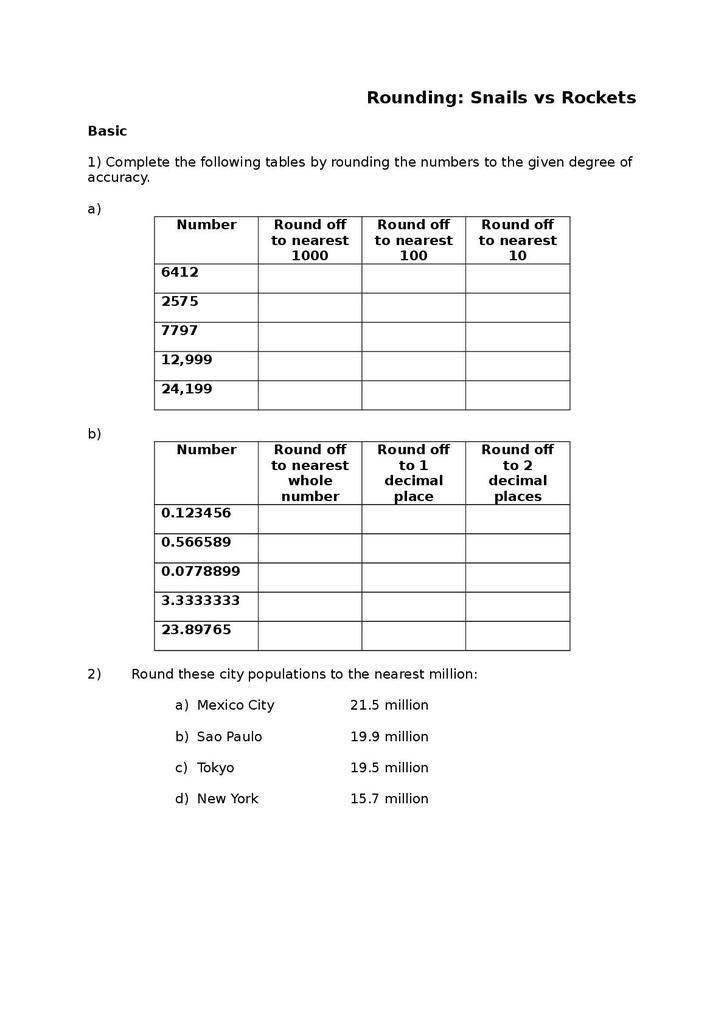 rounding: snails vs rockets worksheet 73 kb