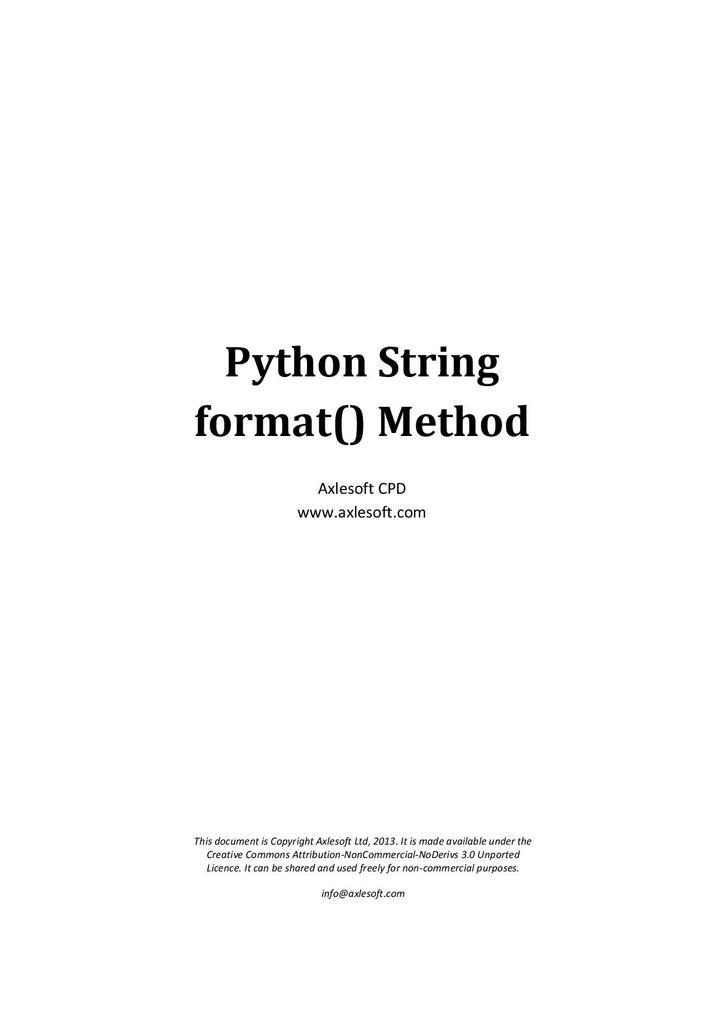Python 3: Format 'Cheat Sheet' | STEM