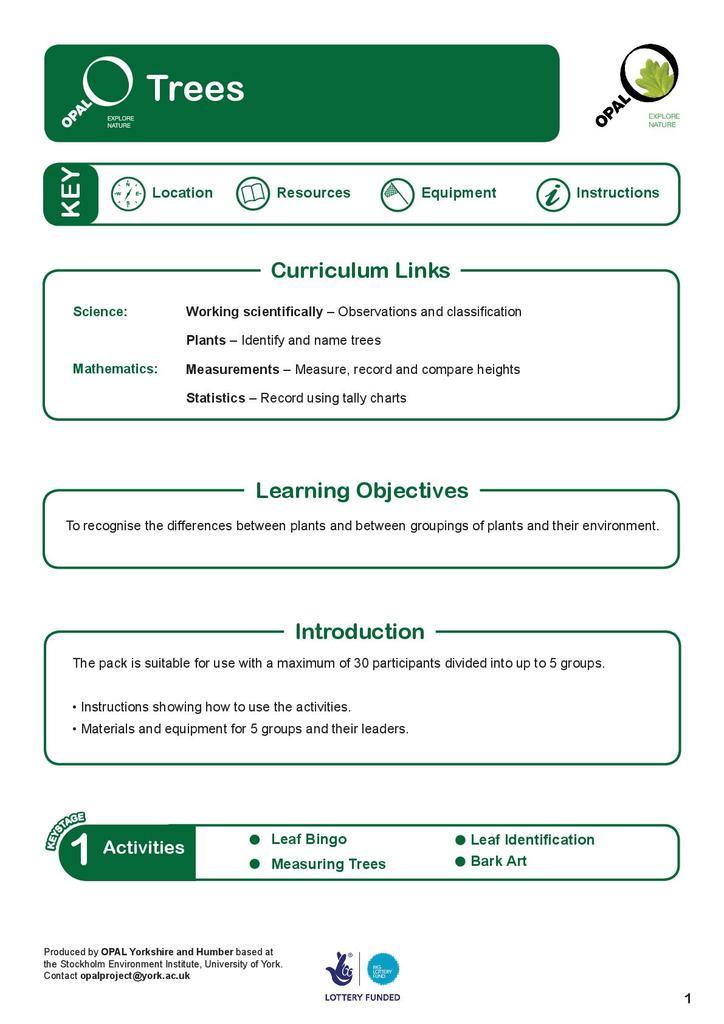 Education Pack: Trees - Vital Statistics, Describing and Measuring