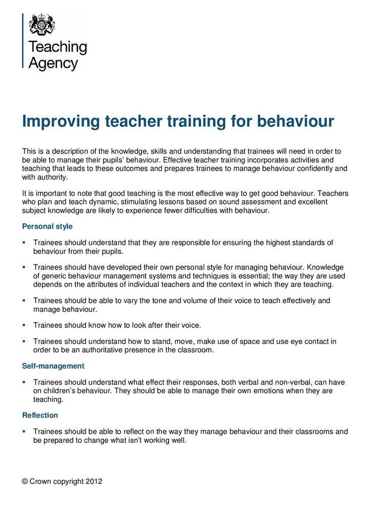 Improving Teacher Training for Behaviour | STEM