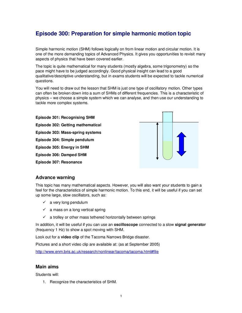 Episode 300: Preparation for Simple Harmonic Motion Topic | STEM