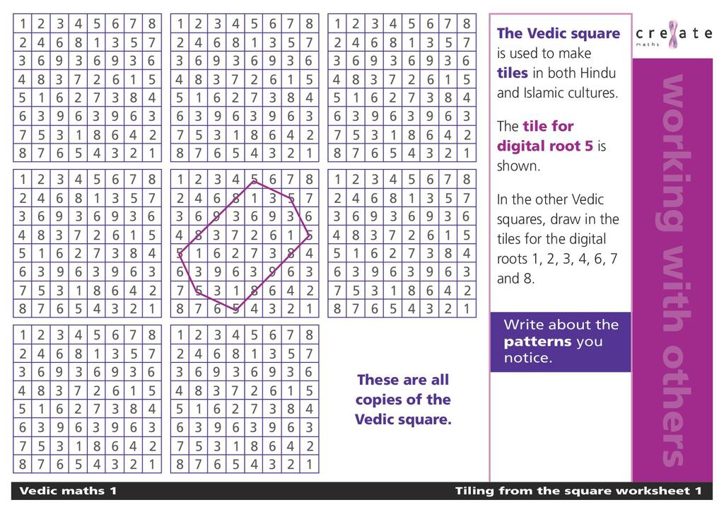vedic maths   stem tiling from the square worksheet   kb